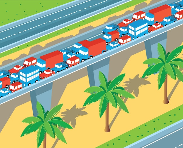 Isometric view of the highway with many cars