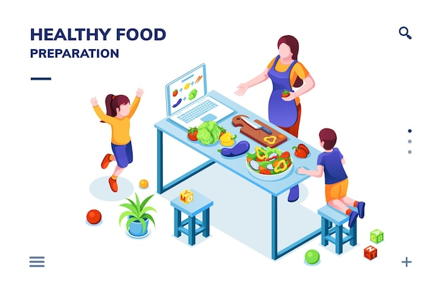 Isometric view on kitchen with family cooking healthy or vegetarian meal