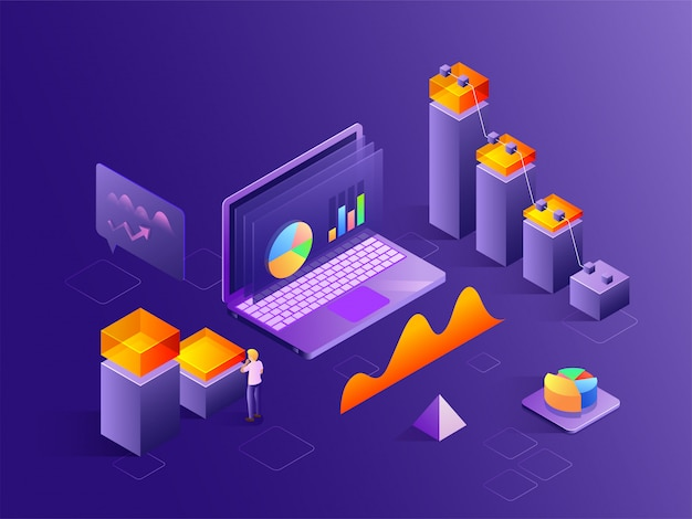 Isometric view of laptop with 3d bar graph