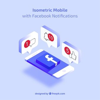 Isometric view of mobile phone with facebook notifications