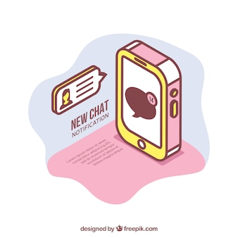 Isometric view of mobile phone with instagram post