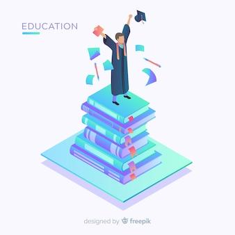 Vista isometrica del concetto di educazione moderna