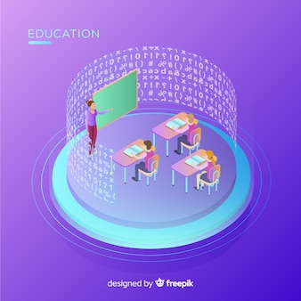 Isometric view of modern education concept