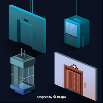 Isometric view of modern elevator collection