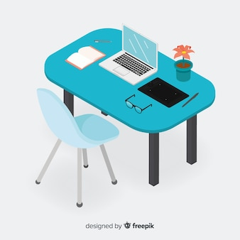 Isometric view of modern office desk