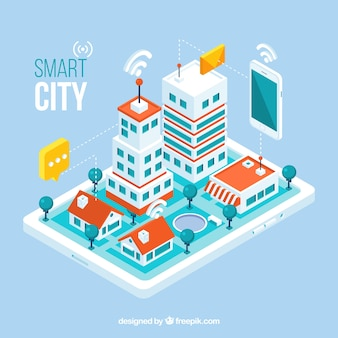 Isometric view of a mobile application with a city