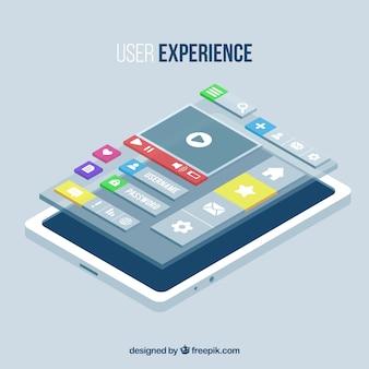Изометрические вид мобильного телефона и приложений