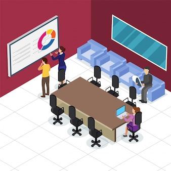 직장, 회의실에서 비즈니스 사람들이 colabration의 아이소 메트릭 뷰. 사업 개념.