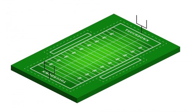アメリカンフットボールのフィールド図の等角図。抽象的な等尺性スポーツイラスト