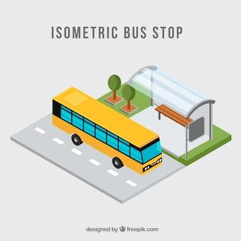 平らなデザインのバスとバス停留所の等角図
