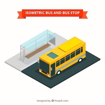 バスとバス停留所の等角図