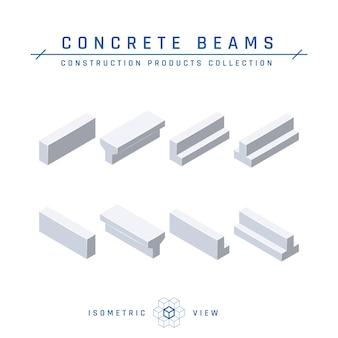 Изометрический вид бетонных балок в плоском стиле.