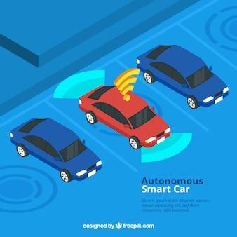 Изометрический взгляд на футуристический автономный автомобиль