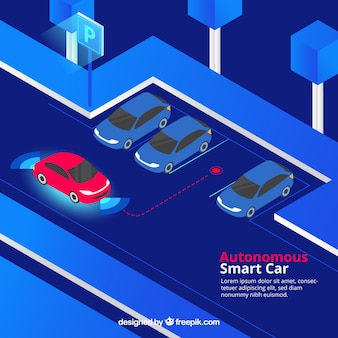 Isometric view of futuristic autonomous car