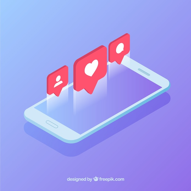 Free Isometric view of mobile phone with instagram post SVG