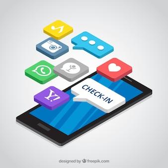 Изометрический вид мобильного телефона с сообщением instagram