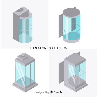 現代のエレベーターコレクションの等角図 無料ベクター