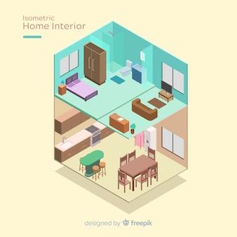 Изометрический вид современного домашнего интерьера