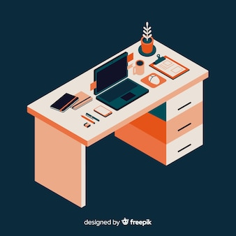 Isometric view of modern office desk with flat design