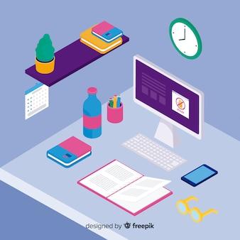 現代のオフィスデスクの等角図