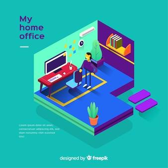 현대 사무실 인테리어의 아이소 메트릭 뷰