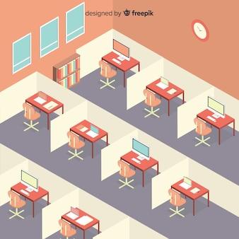 近代的なオフィスインテリアの等角図