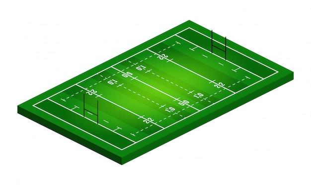 ラグビーフィールドイラストの等角図。抽象的な等尺性スポーツイラスト