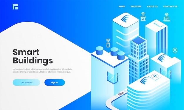 スマートビルディングコンセプトベースのランディングページデザインのインターネットネットワークを介して技術デバイスと超高層ビルの等角図。