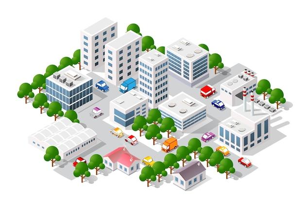 도시의 등각 투영 뷰. 집의 컬렉션 3d 그림 3d 모듈 블록 지구 부분