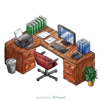 平らなデザインの水彩のオフィスデスクの等角図