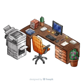 Isometric view of watercolor office desk with flat design