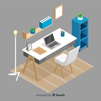 Isometric view of professional office desk