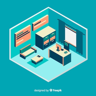 Vista isometrica dell'interno ufficio professionale