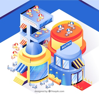 Isometric view of restaurant with flat design