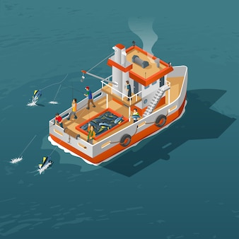 Isometric view of tuna fish fishing