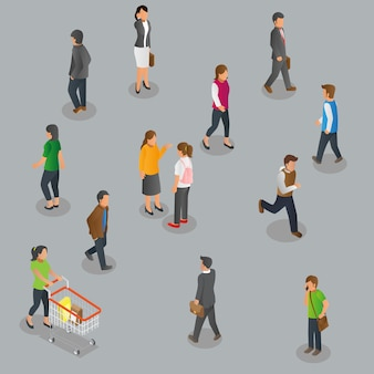 Isometric view of walking pedestrian