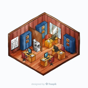 Isometric view of watercolor modern office