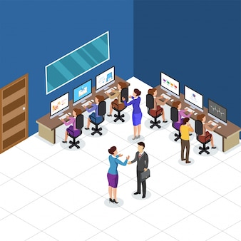 Isometric view of a work place, business people colabration at  work area. business concept.