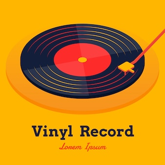 Isometric vinyl record music vector