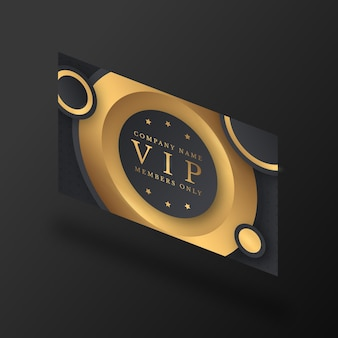 Isometric vip card with golden details