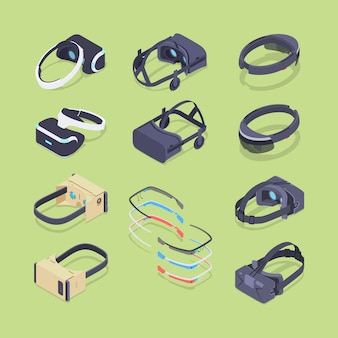 Isometric virtual and augmented reality headsets