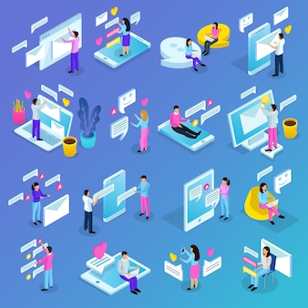 Isometric virtual communication element collection