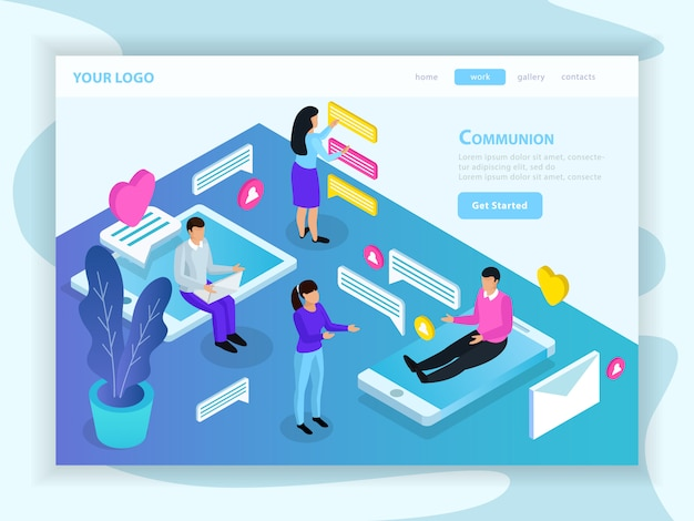 Isometric virtual communication landing page