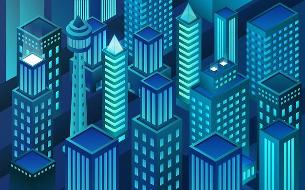 等尺性仮想現実都市。ブロックチェーンシティ。夜の高層ビル。