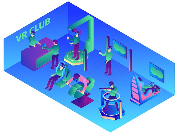 Isometric virtual reality composition with indoor view of vr computer club with wearable devices and attractions vector illustration