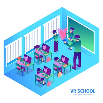Isometric virtual reality composition with text and indoor view of futuristic classroom with teacher and kids vector illustration