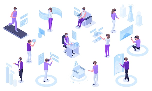 Isometric virtual reality futuristic simulations technology. people in vr glasses immersion in simulation world vector illustration set. augmented virtual reality
