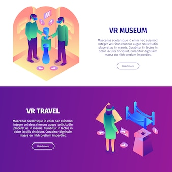 Isometric virtual reality horizontal banners set with read more buttons colorful items and people vector illustration
