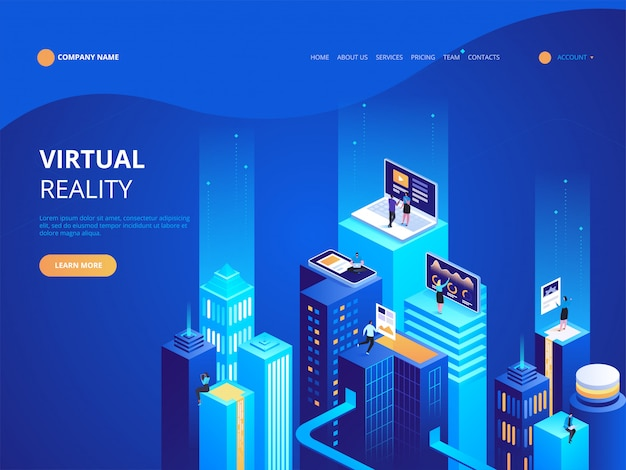 Isometric virtual reality landing page template