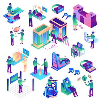 Isometric virtual reality set of colorful isolated images representing various human activities related to augmented reality vector illustration